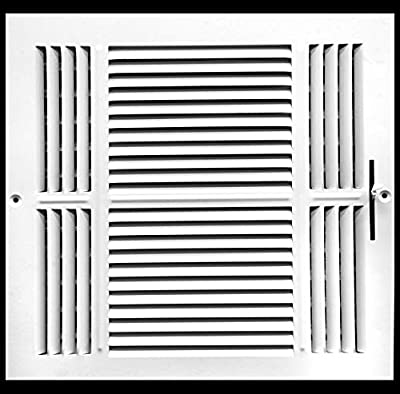 "14"" X 14"" 3-Way AIR Supply Grille - Vent Cover & Diffuser - Flat Stamped Face - White [Outer Dimensions: 15.75""w X 15.75""h]"