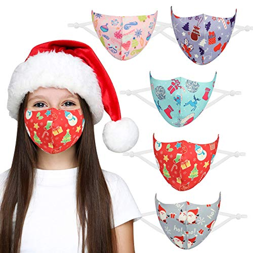 DECOMEN Face Mask Christmas Face Masks Reusable Washable with Christmas Pattern, Dust Air Pollution Protection, Face Health Perfect Size for Children 5Pcs