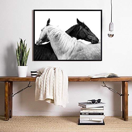Caballo Foto en Blanco y Negro Cartel Impresiones de Animales Remolque Caballo Granja rústica Arte de la Pared Pintura de la Lona Cuadro Decoración de la pared-60x80cm No Frame