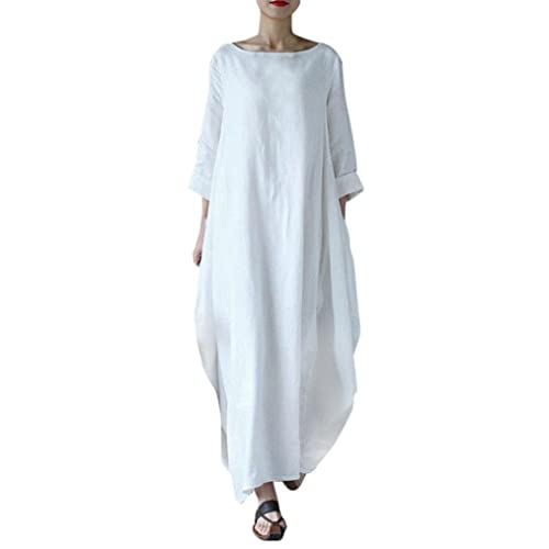 0c5296b68341 Landove Women Summer Cotton Linen Dress Plus Size Vintage Loose Kaftan  Casual Boho Chic A Line