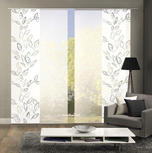 Home Fashion Set-Angebot Flächenvorhang Fronde | wahlweise 3er-, 4er- oder 5er-Set bestehend aus Motiv- und Uni-Flächenvorhängen | Höhe 245 cm, Farbe: Stein, Anzahl: (4)