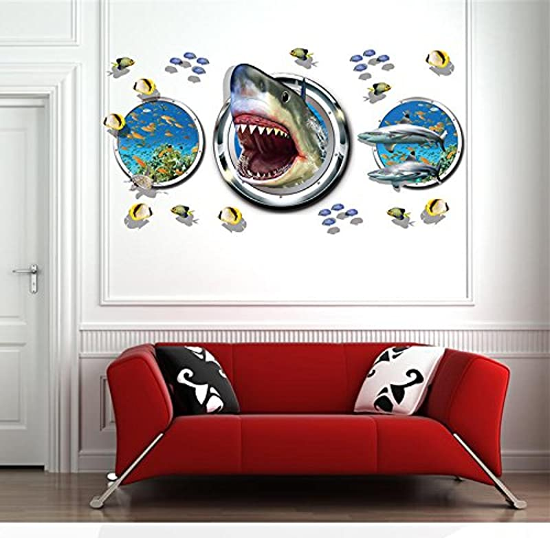 Mr S Shop Wall Sticker Removable Shark Fish Vinyl Decals For Kids Child Bedroom Bathroom Home Decor Self Adhesive Mural DIY Wall Stickers Art
