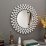 Espejo de pared moderno decorativo – 31.5 pulgadas x 31.5 pulgadas redondo decoración espejo de pared para sala de estar recámara