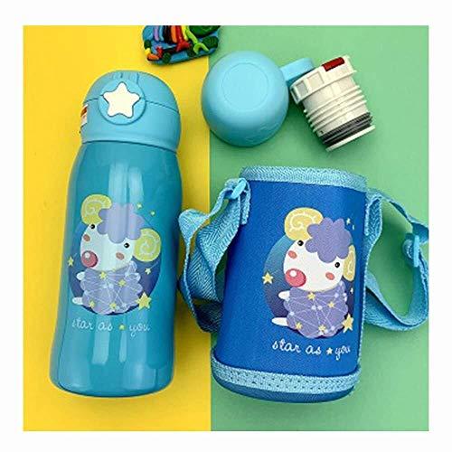Thermos en acier inoxydable pour enfant, mignon motif dessin animé, bouteille avec paille à double couvercle avec sac à dos réglable (couleur : bleu, taille : -)