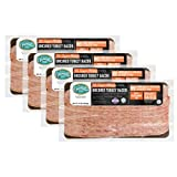 Pederson's Farms, Turkey Bacon, Whole 30 (4 Pack, Use / Freeze) 10oz ea (Chopped & Formed) Keto Paleo Friendly, No Nitrite Nitrate, Sugar Free Bacon, Made in the US. Cooking Instructions Provided