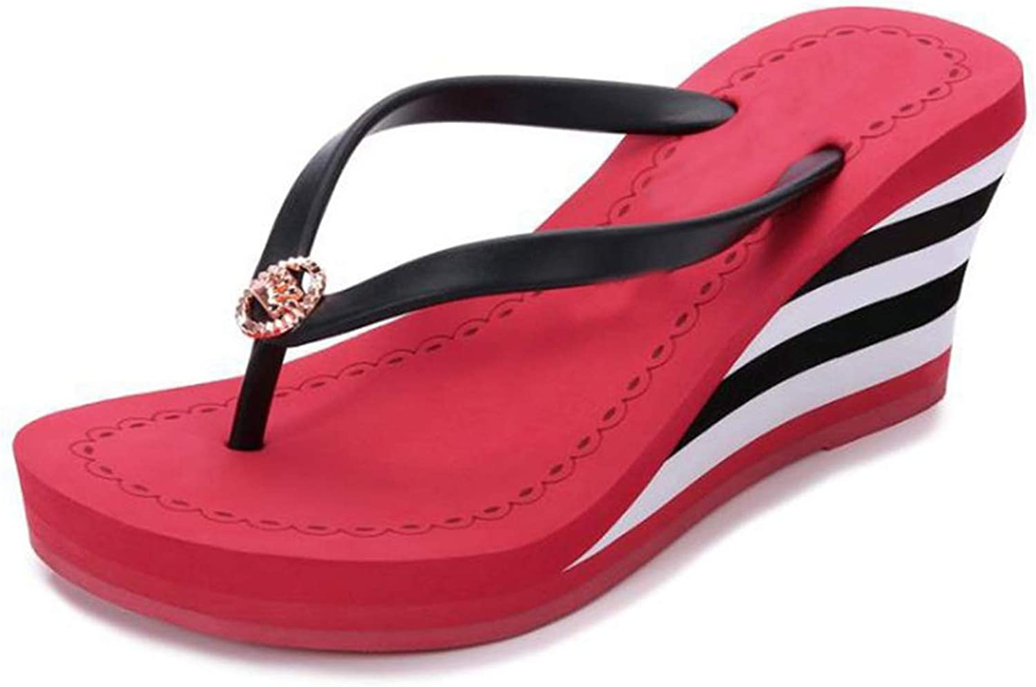 T-JULY Summer Women Sandals for Beach Heels Wedges Platform Slippers Elegant Ladies Flip Flops