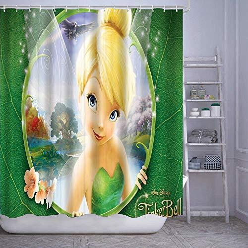 "GIKIM Waterproof Shower Curtain Tinkerbell Washable Fabric Bathroom Decor Set with Hook Bath Curtain 60"" x 72"""