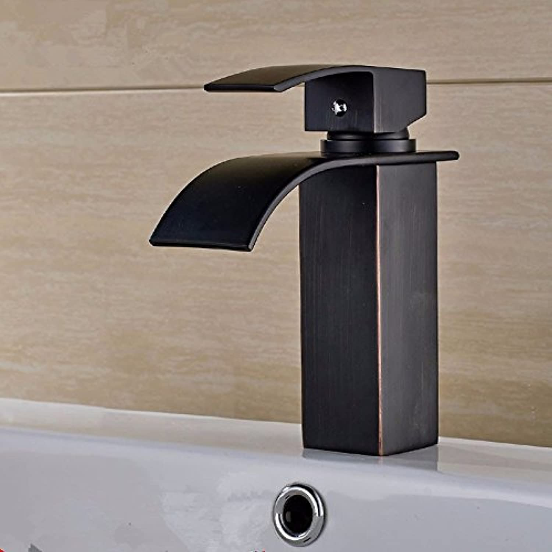 LHbox Das Becken aus Bronze Mixer Einzelne Bohrung heies und Kaltes Bad Wasserhhne Becken Continental Schwarz Alten Wasserhahn Niedrig, B