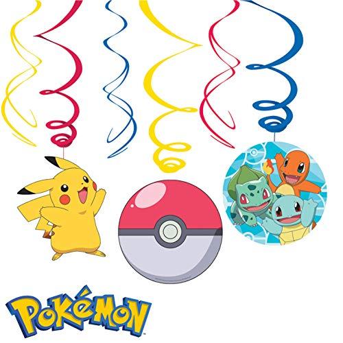 6-teiliges Swirl-Decken-Deko-Set * Pokemon * für Kindergeburtstag und Mottoparty | Deckendeko Raumdeko Deckenhängern