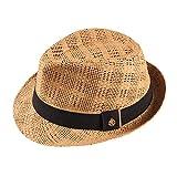 Sombrero Paja Hombre Mujer Fedora Borsalino Trilby Gorra Panamá Verano Playa ala Corta Moda Unisex (lu-255-marron, 58cm)