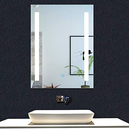 AICA SANITARIOS Espejo de baño 45x60 cm Espejo led - Interruptor Táctil - Función Anti-Niebla - Frío Blanco (6000K) - Espejo de Pared - Espejo con iluminación