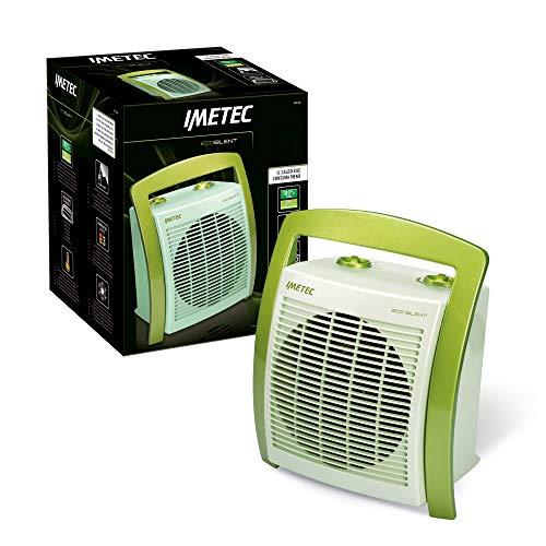 Imetec Eco Silent FH5-100 ventilatorkachel met laag energieverbruik, ergonomische handgreep, 3 temperatuurniveaus, kamerthermostaat, groen