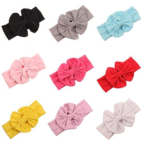 Butterme 8pcs filles bébé garçons couleur unie bandeau élastique bowknot cheveux large bande Headwrap - multicolore