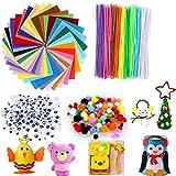 Adkwse 540 Unidades DIY de Juguete para niños Set para niños, 100 Chenilla Alambre + 200 Unidades plástico Autoadhesivo muñeca Ojos + 200 Pompones + 40 Colores Colores Fieltro