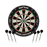 Viper Shot King Regulation Bristle Steel Tip Dartboard Set with Staple-Free Bullseye, Galvanized Metal Radial Spider Wire; High-Grade Compressed Sisal Board with Rotating Number Ring, Includes 6 Darts