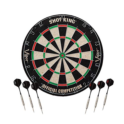 Viper Shot King Regulation Bristle Steel Tip Dartboard Set with Staple-Free Bullseye, Metal Radial...