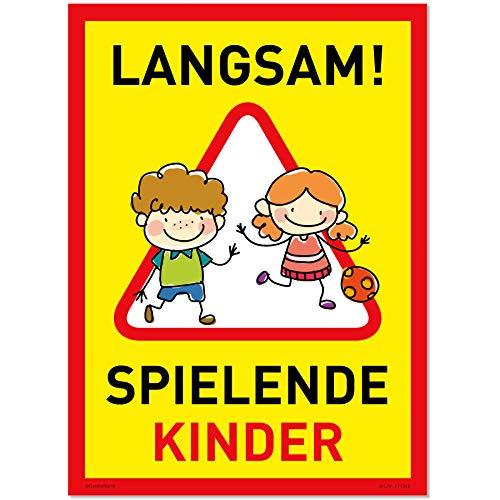 XXL Achtung Kinder Schild (32x44 cm Kunststoff) - Warnschild spielende Kinder - Vorsicht Hier Spielen Kinder - Bitte langsam Fahren - 871362