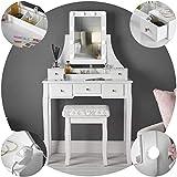 IceCreamLiving Hollywood - Tocador con luces LED y taburete, para dormitorio, maquillaje, joyas, set de almacenamiento (DT010, enchufe blanco)