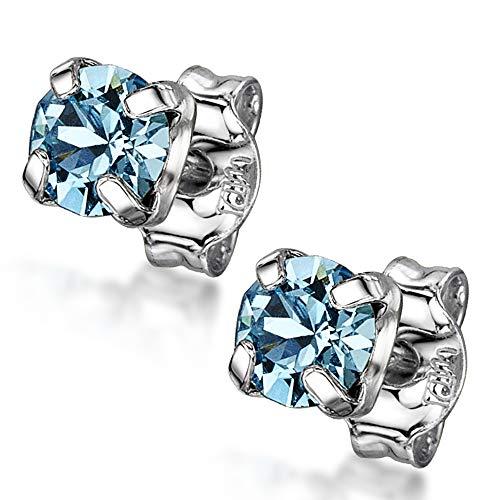 Amberta Pendientes de Botón Pequeños para Mujer en Plata de Ley 925 con Cristales Lumini