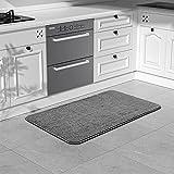 "Color&Geometry Kitchen Rug Non Slip Absorbent Runner Mat for Kitchen, Machine Washable Kitchen Carpet 17""x39"" ,Grey"