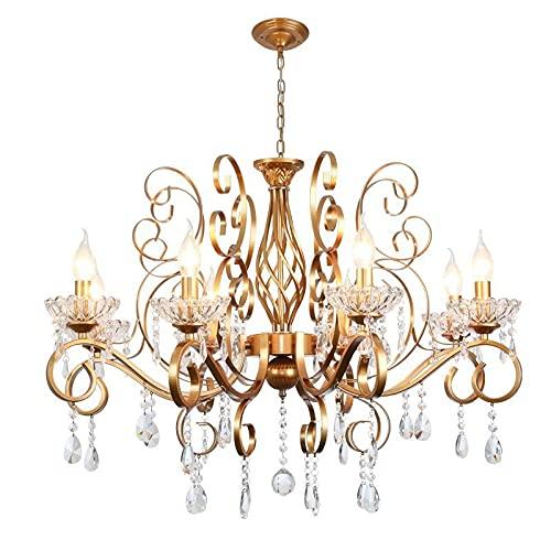 Lampadario a goccia di cristallo rustico a 8 luci,stile di candela d'epoca con finitura oro,apparecchio di illuminazione agriturismo appeso for soggiorno,sala da pranzo