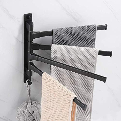 KANGHE Toallero 180° Giratorio de Aluminio para Baño, Colgador de Toallas de 4 Bares, Estante de Cocina de Papel Colgante Montado en la Pared, sin Taladrar, 12'x 14'