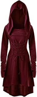 FSVABY Womens Lace Up Vintage Criss Cross Hooded Costume Robe Long Sleeve High Waist Thumb Hole Dress