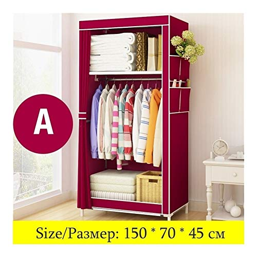 Wardrobe Storage Cabinet Minimalist Modern Non-Woven Cloth Wardrobe Baby Storage Cabinet Folding Steel Individual Closet Bedroom Furniture Portable Wardrobe (Color : A)