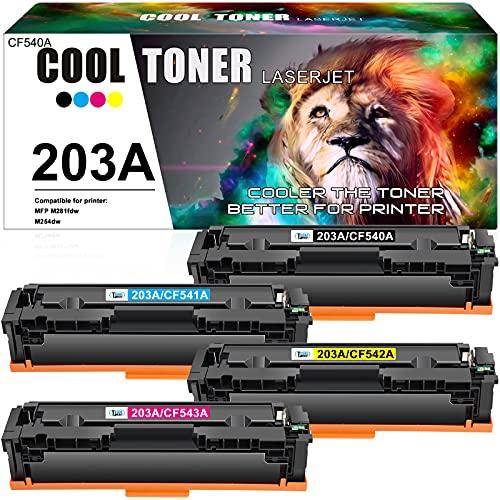 Cool Toner Cartuccia toner Compatibile In sostituzione di HP 203A CF540A CF541A CF542A CF543A Color Laserjet Pro MFP M281fdw M281fdn M280nw M254dw M254nw (Nero,Ciano,Giallo,Magenta,confezione da 4)