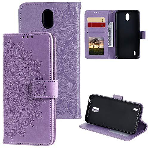 CoverKingz Handyhülle für Nokia 1.3 - Handytasche mit Kartenfach Nokia 1.3 Cover - Handy Hülle klappbar Motiv Mandala Lila