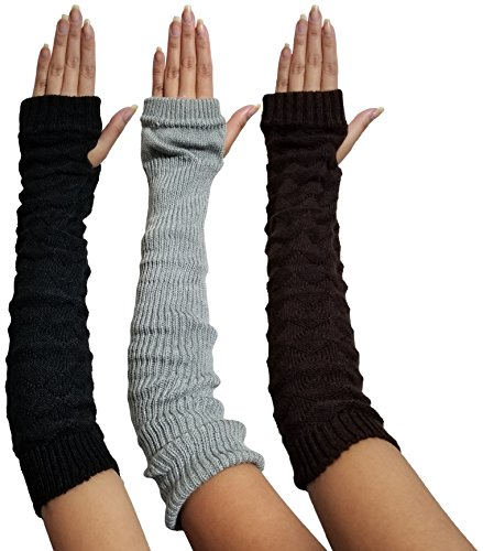3 Pairs Arm Warmers for Women, Cable Knit Warm Winter Sleeve Fingerless Gloves (3 Pack Assorted Cable Knits)