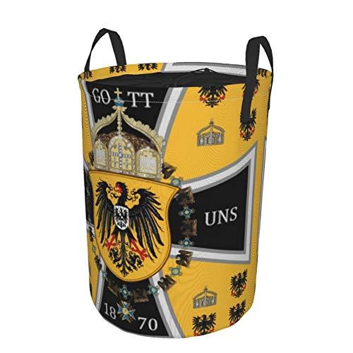 Cesta grande para la colada resistente, bolsa de ropa de Prussia Keiser bandera plegable de tela con cierre de cordón impermeable cesta redonda