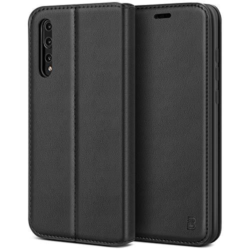 BEZ Cover Huawei P20 Pro, Custodia per Huawei P20 Pro Protettiva Portafoglio in Pelle Con Porta Carta di Credito, Kick Stand, Chiusura Magnetica, Nero