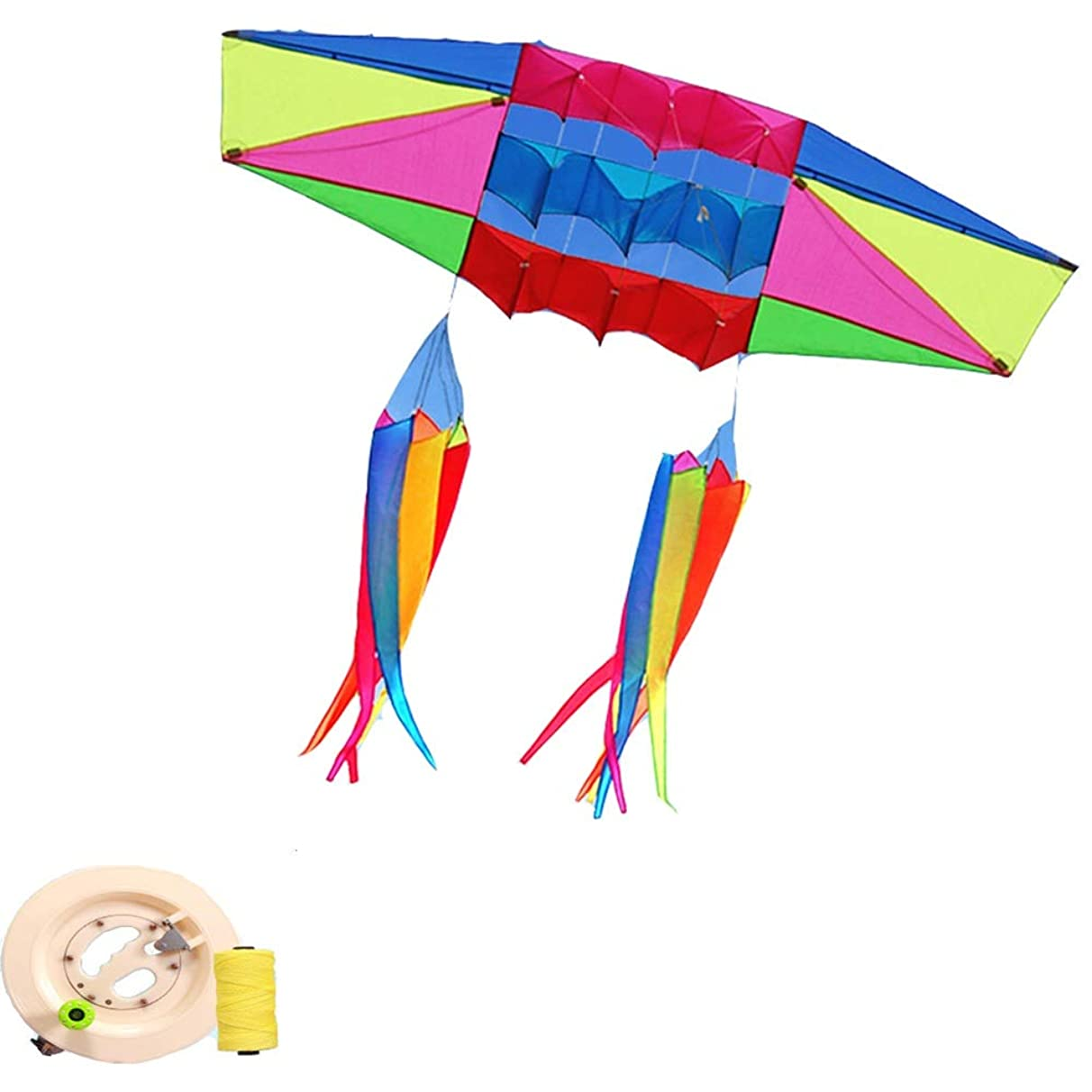 Kite,Flying Spring Toy Radar Umbrella Cloth Kite, Front Pole Stereo Large Adult Kite Easy to Fly Kite line Wheel Puller Multi-Style Optional (Color : C)