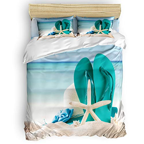 4PC Duvet Cover Set Full Beach Starfish Slippers Tropical Summer Soft Microfiber Comforter Bedding Quilt Cover with Zipper Closure, Ties