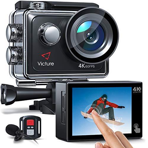 Victure AC920 Action Cam 4k/60fps 20MP EIS Anti-Shake WiFi Touchscreen Helmkamera 40M Unterwasserkamera mit Fernbedienung und externem Mikrofon