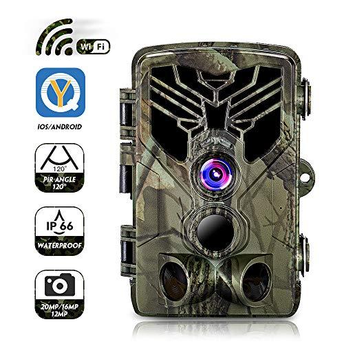 SUNTEKCAM WLAN Wildkamera 20MP 1080P Video WiFi mit Bewegungsmelder Nachtsicht Wildlife Jagdkamera, Wildtierkamera mit Nachtsichtbewegung Wasserdicht IP66 Wasserdicht Outdoor- mit 16G SD-Karte