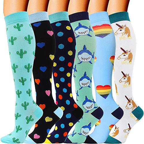 6 Pairs Compression Socks for Men and Women 20-30 mmHg Nursing Athletic Travel Flight Socks Shin Splints Knee High (Multicolored 02, Small-Medium)
