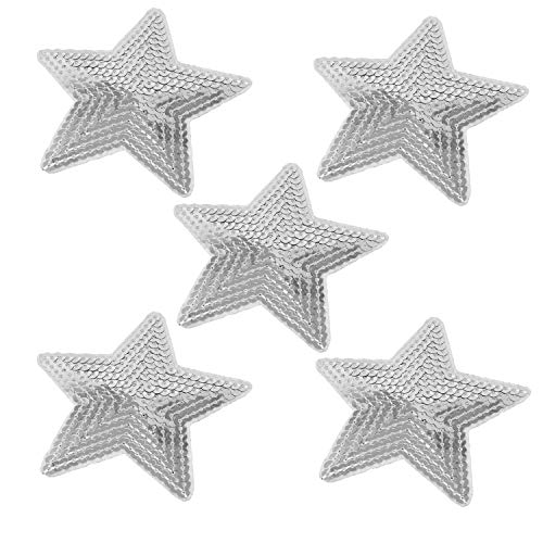 Honbay 12PCS Sequins Star Patche Appliques for Embroidery (Silver)