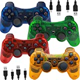 Wireless Controllers for PS3 Playstation 3 Dual Shock,Remote Joystick Gamepad for Six-axis with Charging Cable,Pack of 4 (Orange,Green,Blue,Red)