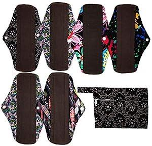 7pcs Set 1pc Mini Wet Bag +6pcs 10 Inch Regular Charcoal Bamboo Mama Cloth/ Menstrual Pads/ Reusable Sanitary Pads