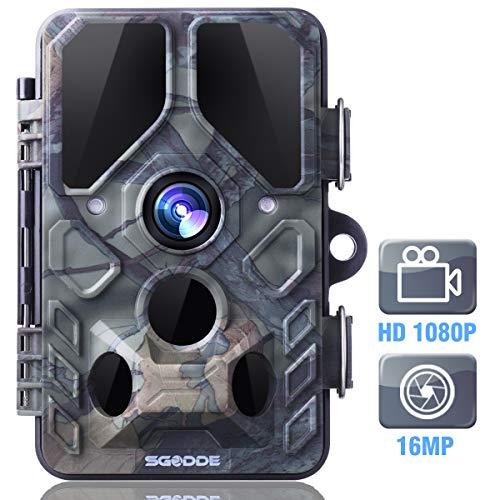 SGODDE Wildkamera,16MP 1080P Full HD 5.0 Jagdkamera Infrarot-Nachtsicht bis zu 65 Fuß/20m,42 IR LEDs Bewegungsmelder 120 ° Weitwinkelobjektiv IP66 Wasserdicht 2.4