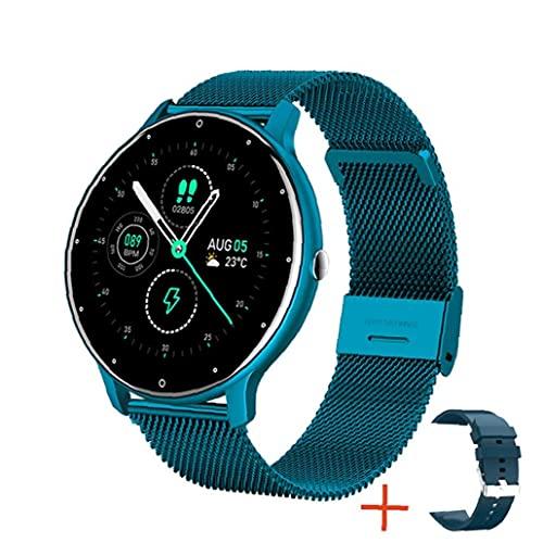 1.28 \'\' Full Touch Fitness Steel Band Watch mit Frauen Gesundheit Tracker Herzfrequenz Meldung Benachrichtigung Wasserdichte Outdoor Sports Smartwatch für Android ios Telefon (blau)