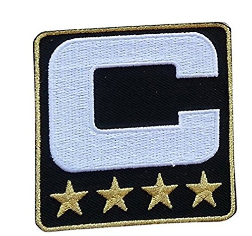 Black Captain C Patch (4 Gold Stars) Sewing On for Jersey Football, Baseball. Soccer, Hockey Jersey