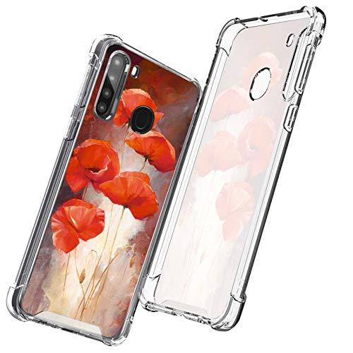 UZEUZA Funda compatible con Samsung Galaxy A21 Europe Poppy Flower Pattern Transparente para niñas y mujeres