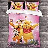 QWAS Winnie The Pooh Disney Winnie The Pooh - Juego de cama infantil (funda nórdica y funda de almohada, impresión digital 3D (Winnie, 1220 x 240 cm + 80 x 80 cm x 2)