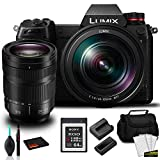 Panasonic Lumix DC-S1 Full-Frame Mirrorless Digital Camera with 24-105mm Lens -Bundle with 64GB Memory Card + More