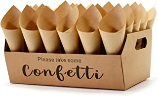 Confetti Cone Stand Box Tray - Wedding Confetti Holder Stand Box Tray, 30pieces of Cone Papers and 30Holes for 30 Confetti...