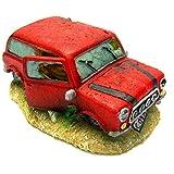 イスタ(ISTA) プラスチック 樹脂製 アクアリウム オーナメント 乗り捨てられた 赤い 車 ヴィンテージ カー