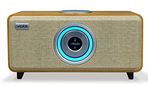 Voiz AiRadio VR-80 Alexa Built-in Wireless Internet Radio HiFi Streaming Ready Multi-Room Music System and Bluetooth - Bamboo Wooden Cabinet Natural Grill